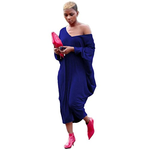 Damen Fledermaus Kleider TPulling Frau Mode Einfarbig Bedrucktes ...
