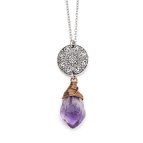 Raw amethyst crystal gemstone wire-wrapped medallion pendant necklace 24 in