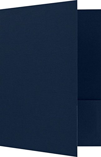 Linen Folder - 9 x 12 Presentation Folders - Dark Blue Linen - Pack of 25 | Perfect for Tax Season, Brochures, Sales Materials and so much More! | PF-DBLI-25