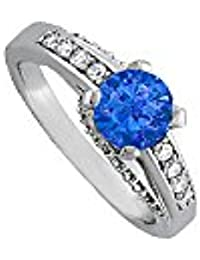 September Birthstone Sapphire and CZ Ring 1.50 TGW