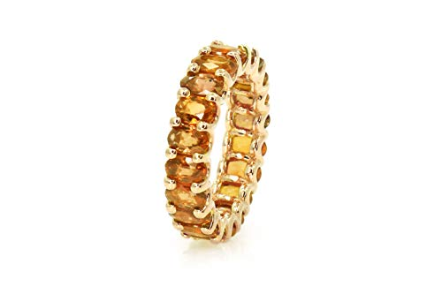 Albert Hern 5.7 ct Natural Orange Sapphire Eternity Ring 18kt Yellow Gold Band for Women Size 5.25 | Ideal for Weddings, Engagement, Bridal Set, Valentine's Day, Anniversary & Birthday Gift
