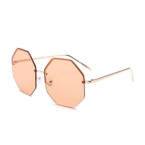 De De Enormes Viajes Violeta Oro Gold Reborde Sol Uv400 Lujo TIANLIANG04 Gafas De C7 Orange Grandes De Gafas Unas C8 Octagon Señoras Sombras Sol Sin Mujer SqSOER10w