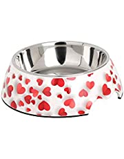 WGTJ dog bowl cat food bowl stainless steel bowl non-slip shared water bowl food bowl Melamine pet bowl (Love pet bowl, ¢22 * 8cm-L-320g/ 700ml)