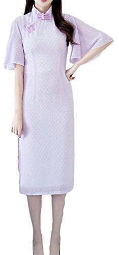 Dresses Cheongsam Women Split Chiffon Vintage Purple Ruffled Bodycon Cromoncent Fq0Rxn0