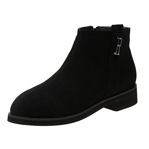 Kenvina Women's Booties Mid Heeled Shoes Ankle Bare Boots Side Zipper Casual Short Tube Booties Black (Lovers Dog Tube)