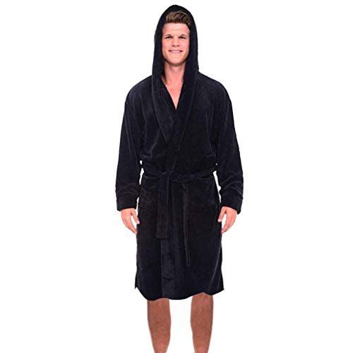 Realdo Mens Flush Robe with Hood, Plus Size Men's Warm Solid Drawstring Long Sleeved Pajamas Coat Black from Realdo