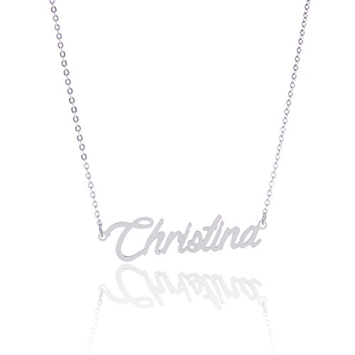 AOLO Stainless Steel Small Nameplate Pendant Necklace Christina (Nameplate Small)