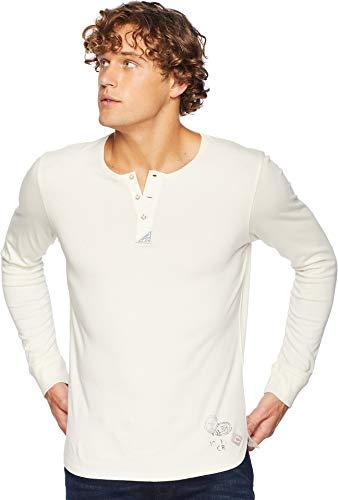 Scotch & Soda Men's Garment-Dyed Long Sleeve Grandad T-Shirt Ecru - Soda Scotch And