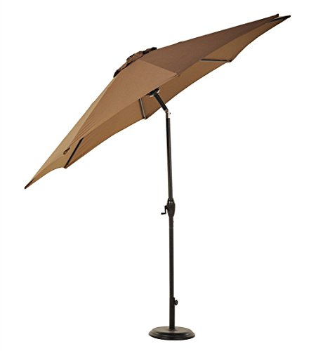 Brand New UV Blocking 9FT Patio Umbrella Aluminum Crank Tilt Outdoor Garden Backyard Beach/ Brown # - Center Town Shops At Orchard