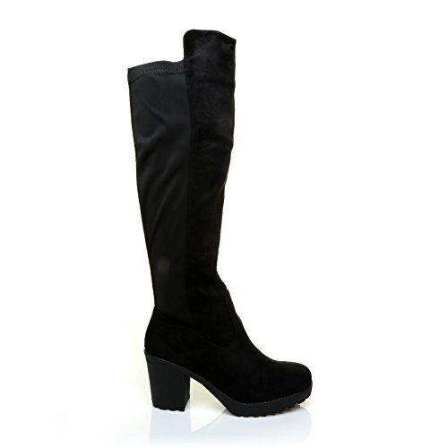 ShuWish UK Dover Black Faux Suede Under The Knee Long Calf Stretch Boots