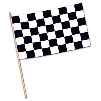 Checkered Flag - Rayon (w/10� spear-tipped wooden dowel) Party Accessory  (1 -