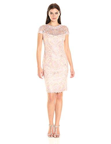 Tadashi Shoji Women's Corded Lace Cap-Sleeve Dress, Petal/Silver, 14