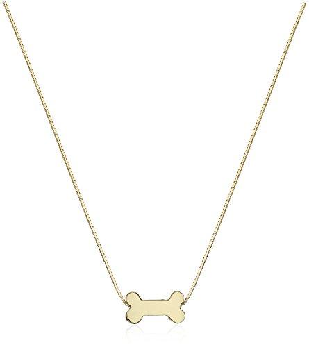 14k Yellow Gold Floating Miniature Dog Bone Pendant Necklace, 17