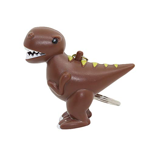 RDTIAN Decompression Toy, Dinosaur Animal Sound LED Light Lamp Flashlight Keyring Key Chain Kids Gift Toy (Coffee)