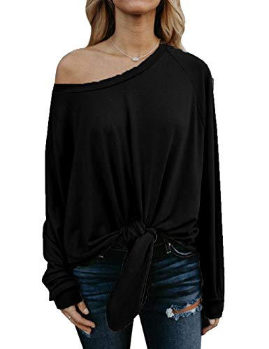 Fall Tops for Women Plus Size, Juniors Loose Fitting Trendy Tops Black (XL, Black)
