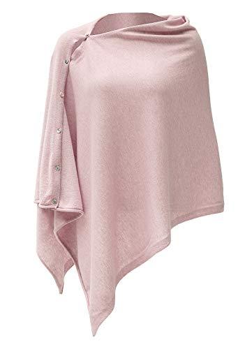 Womens Cashmere Versatile Button Poncho Sweater Lightweight Cape Wraps for Spring Summer Autumn True Blush Pink 1-12