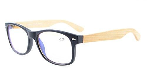 Eyekepper Readers Classic 80's Spring Hinges Bamboo Wood Temples Computer Eyeglasses Black