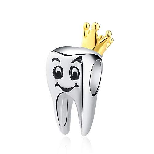 XQY 925 Sterling Silver Gold Crown Teeth Charms Fit Pandora Bracelets Charm Bead Snake Bracelet