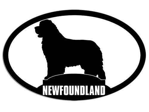 JR Studio 3x5 inch Oval Newfoundland Dog Silhouette Sticker - Breed pet Animal Canada Love Vinyl Decal Sticker Car Waterproof Car Decal Bumper Sticker