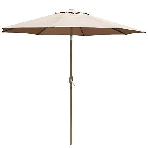102' Aluminum Umbrella (Aluminum Outdoor Patio Umbrella Tan Sunshade Market Garden Cafe Crank Tilt With Ebook)