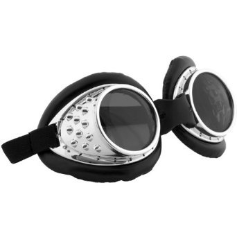 elope Radioactive Steampunk Aviator Goggles Silver -