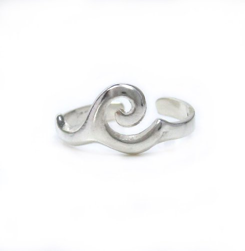 Sterling Silver Crested Ocean Wave Adjustable Toe Ring T124