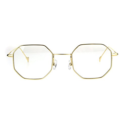 Mens Vintage Style Octagon Metal Wire Rim Snug Rectangular Sunglasses Gold Clear (Octagon Glasses)