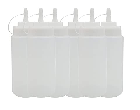16 oz Plastic Squeeze Bottle 6pack with Twist On Cap Lids – Ideal for Condiments, Oil, Icing,Liquids and Crafts, – Set of - Condiment Bottle Set