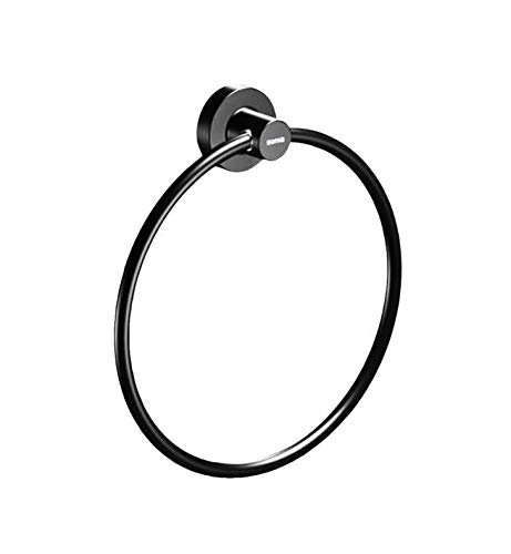 Valencia TECNO Wall Mounted Towel Ring Holder Bath Hand Towel Holder, Brass (Black) by Valencia Bath Collection