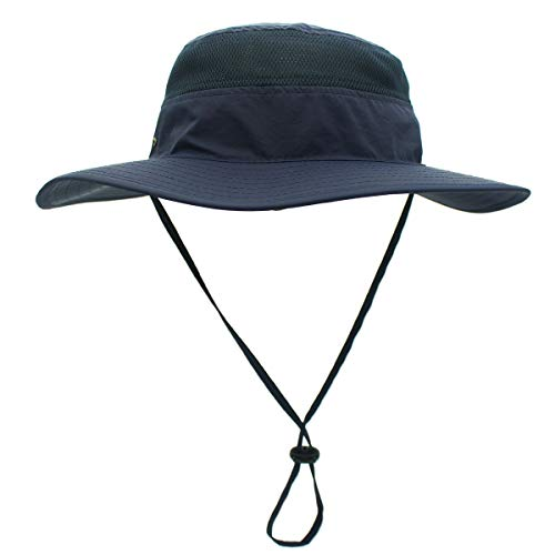 Home Prefer Mens Mesh Bucket Hat UPF 50+ Sun Hat for Outdoor Fishing Hunting Camping Safari Hat Navy Blue