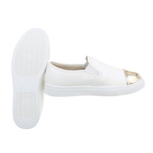 Ital-Design Sneakers Low Damenschuhe Sneakers Low Moderne Freizeitschuhe Weiß Gold D22