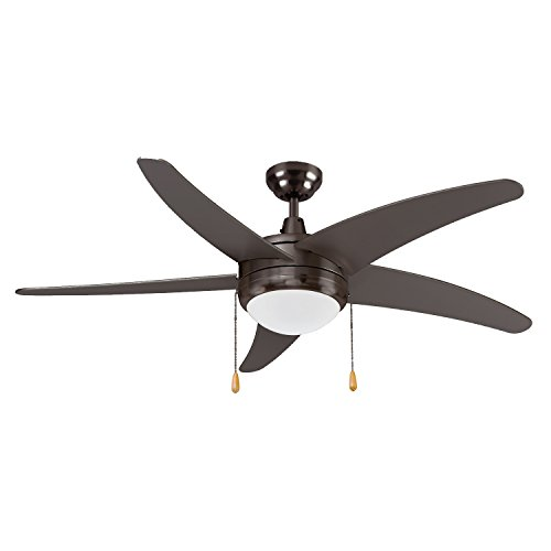 120v 15w Oil (LB92104 LED Ceiling Fan, 50-Inch 5 Blade Curved, Oil Rubbed Bronze, 15W (65W equivalent), 3000K Warm White, 120° Beam Angle, 1000 Lumens, ETL & DLC Listed)