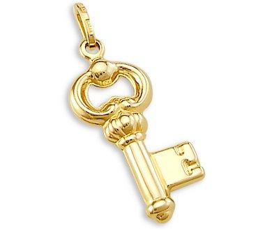 14k Yellow Gold Key Charm pendant Love New (Gold Charm 14k Key Yellow)