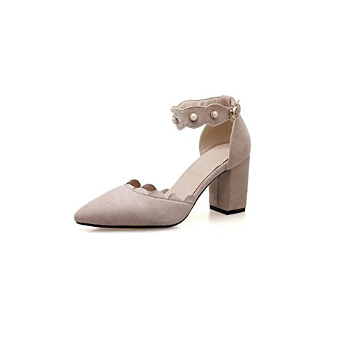 DALL Zapatos de tacón Ly-685 Incrustaciones De Perlas Áspero Talón Zapatos De Mujer Apuntado Cabeza Tacones Sandalias Primavera Y Verano 7cm De Alto (Color : Amarillo, Tamaño : EU 38/UK5.5/CN38) Albaricoque