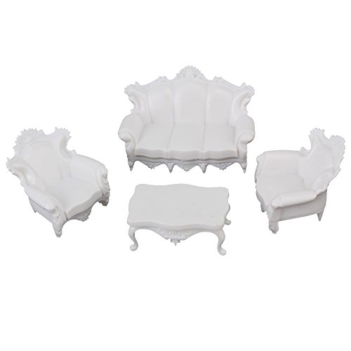 Antique Doll Shoes - White Scale 1:25 European Style Sofa Settee Couch Model For Dollhouse Furniture