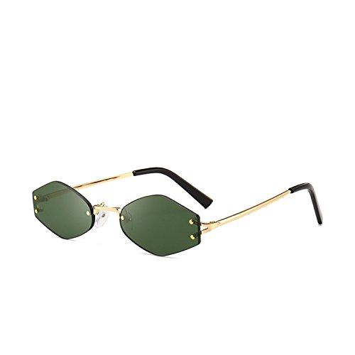 Sunglasses female sunglasses female frameless polygon sunglasses 7102,Dark green ()