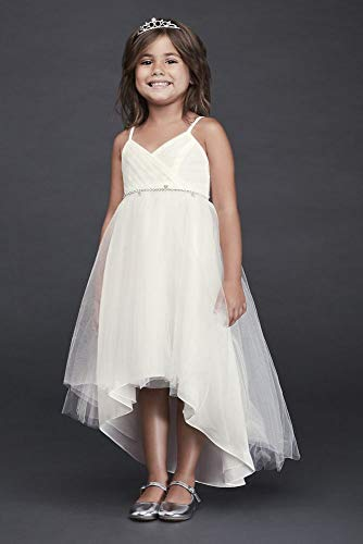 - High-Low Tulle Flower Girl/Communion Dress with Crystal Belt Style OP252, Ivory, 6