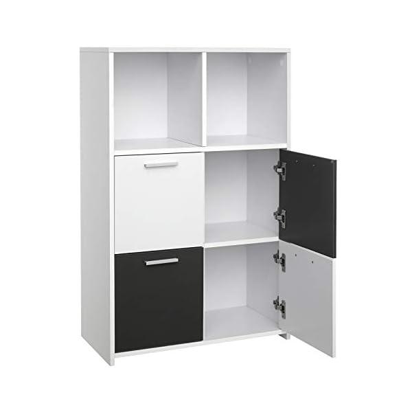 VASAGLE Bibliothèque, Meuble de Rangement avec 6 Compartiments, 4 Portes, Style Moderne, Blanc et Gris LBC28WG