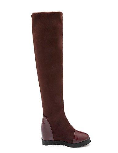 Uk2 5 5 4 Mujer Brown La Punta De us4 negro 2 Vellón Cuñas Redonda Cuero Tacón Vestido Xzz Cuña Zapatos Eu Casual Brown Cn33 A us9 Eu40 Botas Cn41 Uk7 Patentado Moda Eu34 q4RgE1w