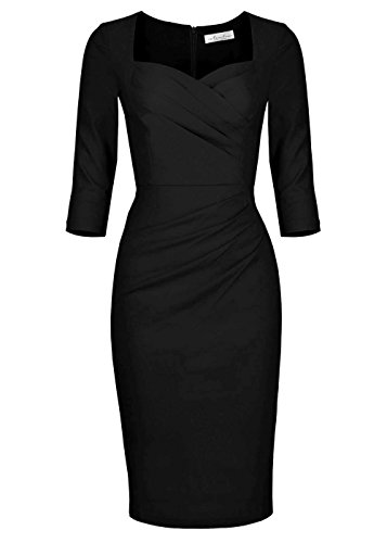 Newdow Lady Celebrity Classic Pleated Inspired Pencil Dress (Large, Black) (Back Pencil Ruched Skirt)