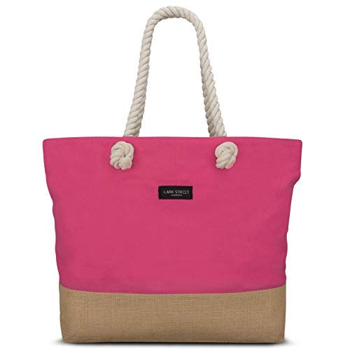 Beach Bag Pink - LARK STREET Travel Tote for Women & Men Made of Sturdy Cotton Canvas & Jute - Swim Bag with Wide Rope Handles for Comfort - Large Carrier Bag with Zipper -
