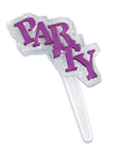 [CLEARANCE FREE STANDARD SHIPPING - 24 Picks - Purple Glitter Party - Official Crispie Sweets Cupcake Topper KIT - w/ Dusting Sugar Sampler & Bonus Card - We Ship Within 1 Business] (Party Glitters Costumes)