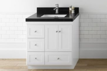 RONBOW Essentials Shaker 30 Inch Bathroom Vanity Cabinet Base in Dark Cherry Finish, with Soft Close Frosted Glass Doors on Right and Full Extension Drawers 081930-1R-H01 ()