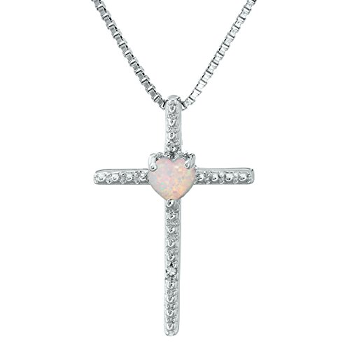 Lavari - .10 Ct Heart White Opal and Diamond Sterling Silver Cross Pendant 18