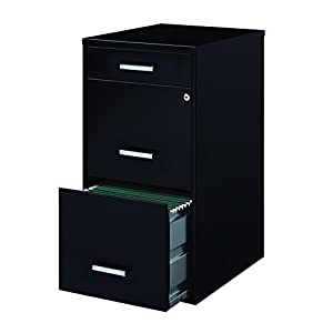 "Space Solutions Metal File Cabinet with Pencil Drawer and Lock, 3 Drawers, 18"" Deep"