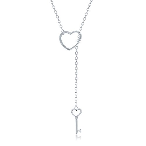 Beaux Bijoux 925 Italian Sterling Silver Heart and Dangling Key Heart Lariat Y 16+2