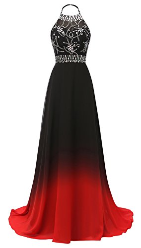 3d9d2eb68a6a ... Women's Halter Gradient Chiffon Long Prom Dress Ombre Beads Evening  Dresses Hear040 Red8. ; 