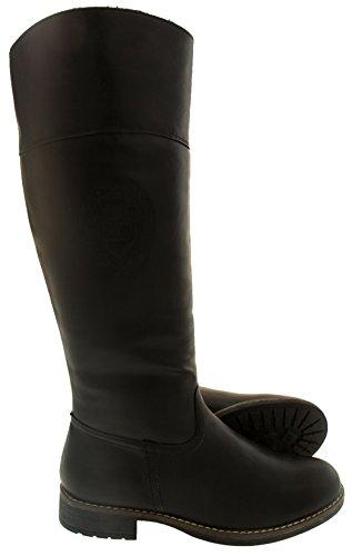 Keddo Mujer Rodilla Botas de Invierno de Cuero Imitación Negro