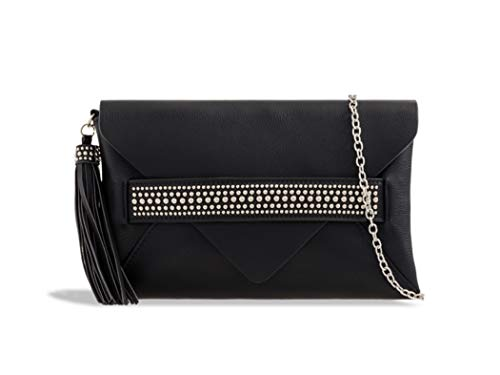 Tassel LeahWard Leather Party Evening Faux Bag Bags Clutch Black Women's g5q5wrS