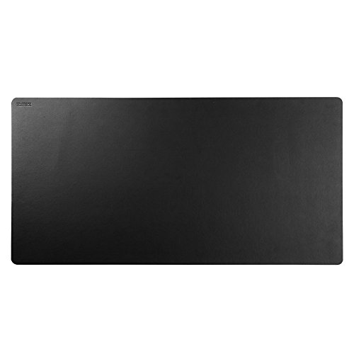 Teather Black Leather Desk Pad PU Leather Desk Mouse Mat Blotters Organizer for Gaming, Writing, Working (36